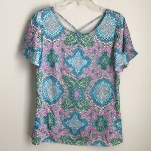 New Talbots Blue Pink Paisley Short Sleeve Blouse